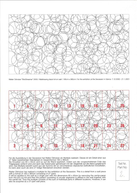 Walter Obholzer Multiples Secession 2000 Klebefolie, Zertifkat, Kartonmappe 60 x 40 cm Ed 27 Secession